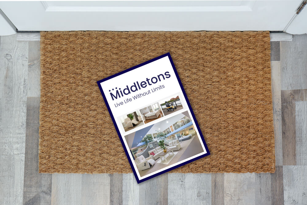 Middletons brochure on a doormat