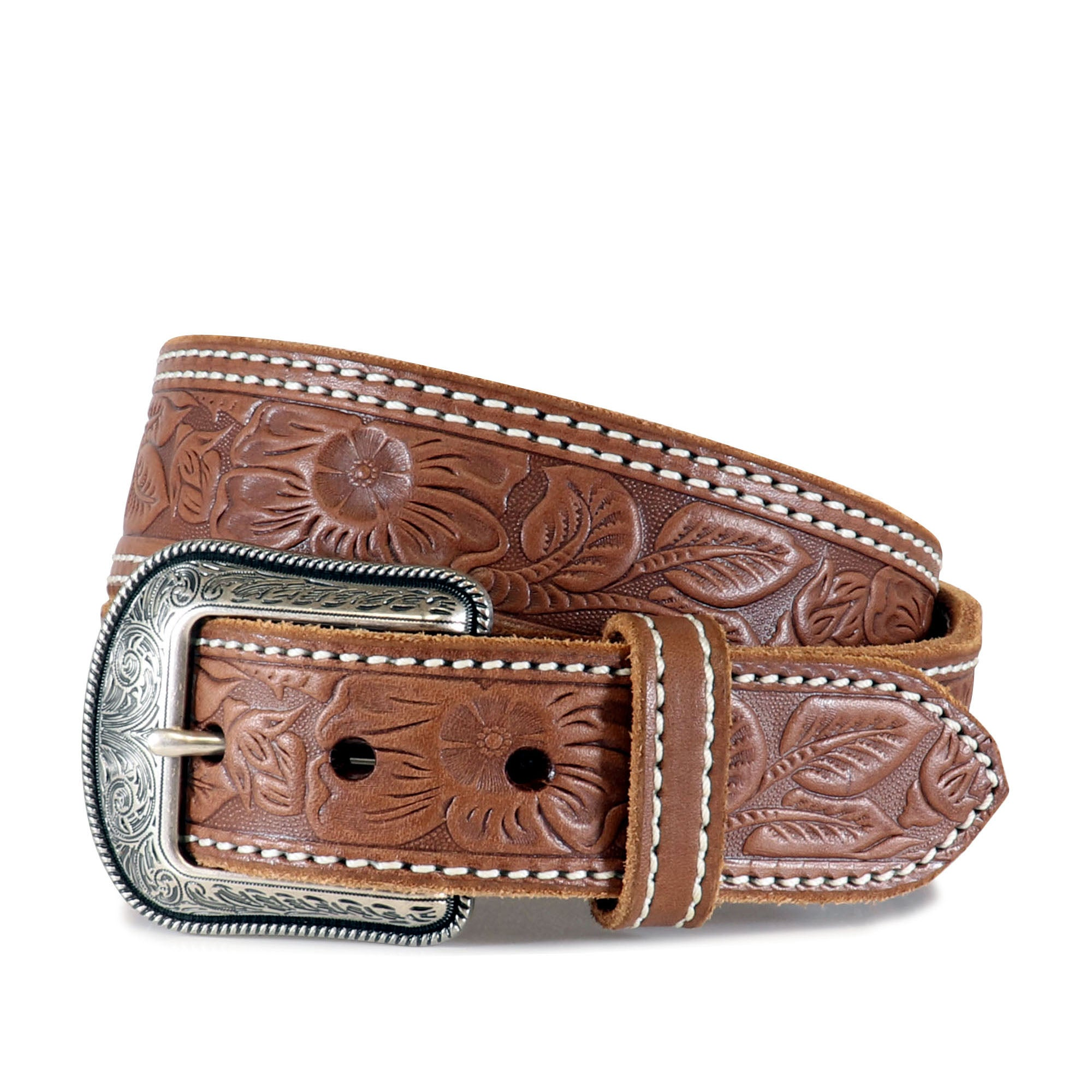 Western Belt #7511 Tapered with Classic Floral Emboss