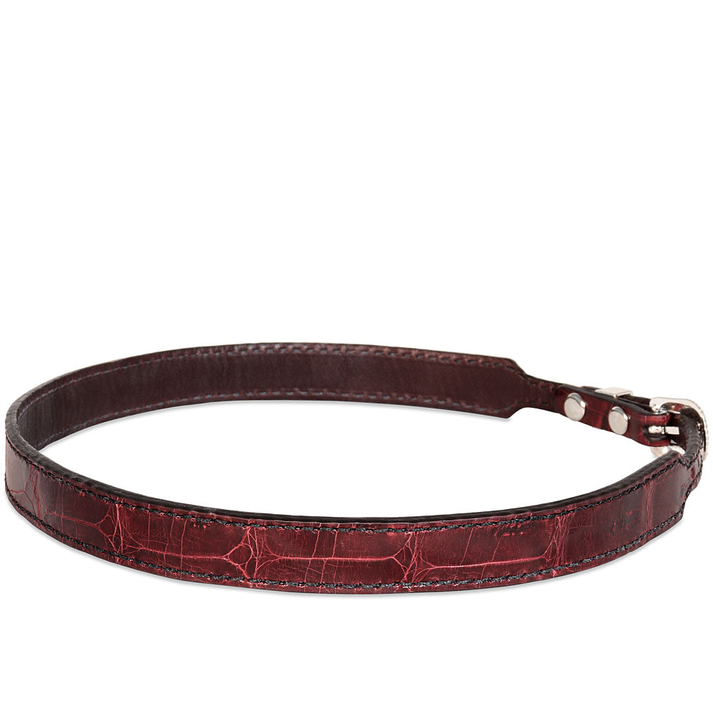 Genuine Crocodile Hatband - Burgundy (large scales)