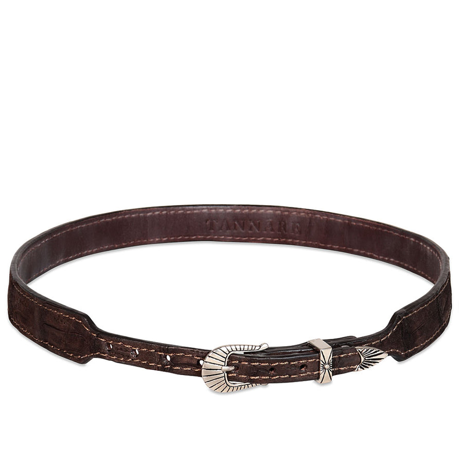 Genuine Crocodile Hatband - Chocolate (suede finish)