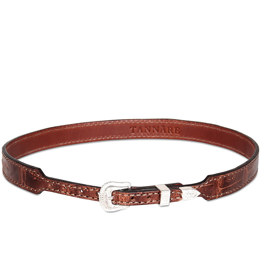 Genuine Crocodile Hatband - Cognac