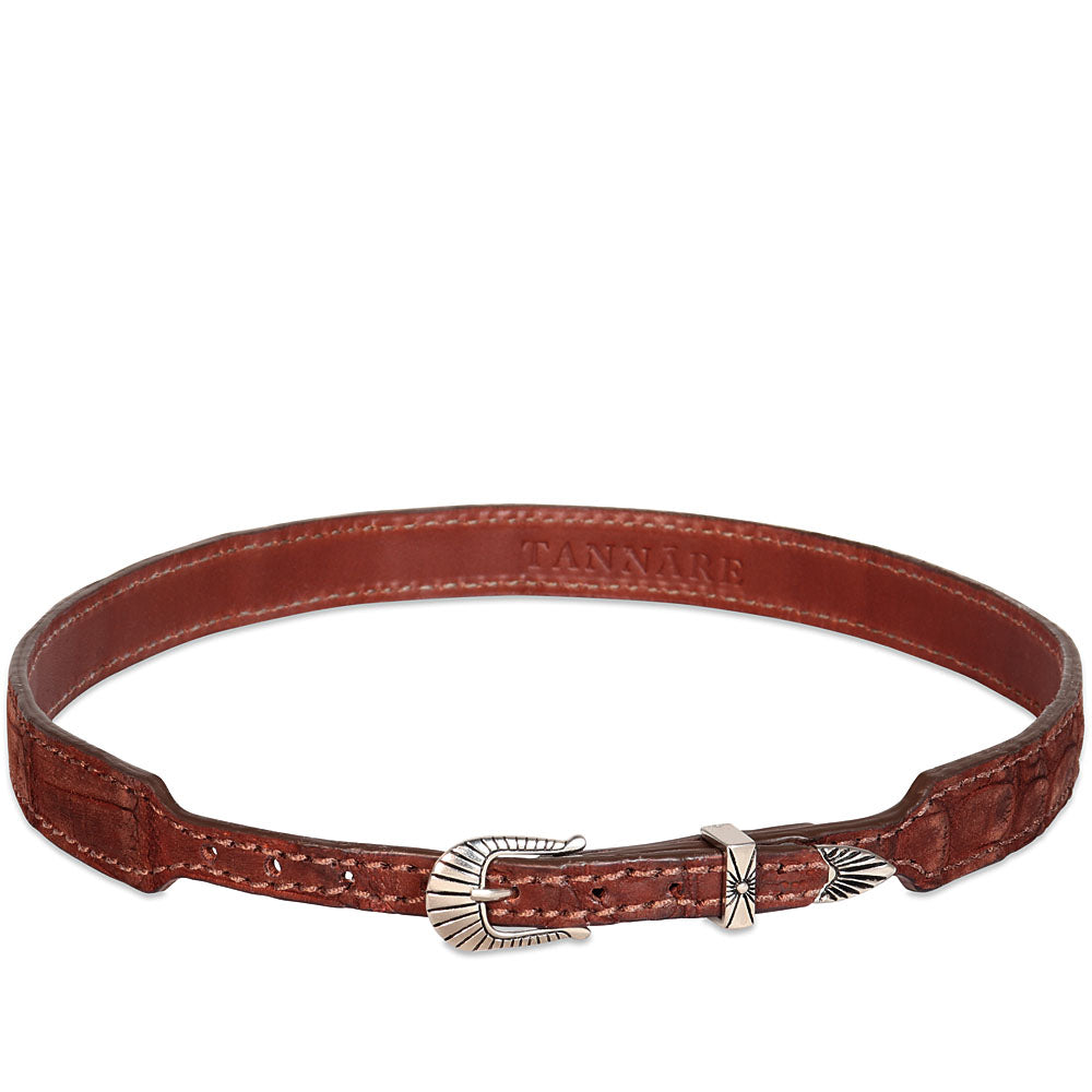 Genuine Crocodile Hatband - Cognac (suede finish)