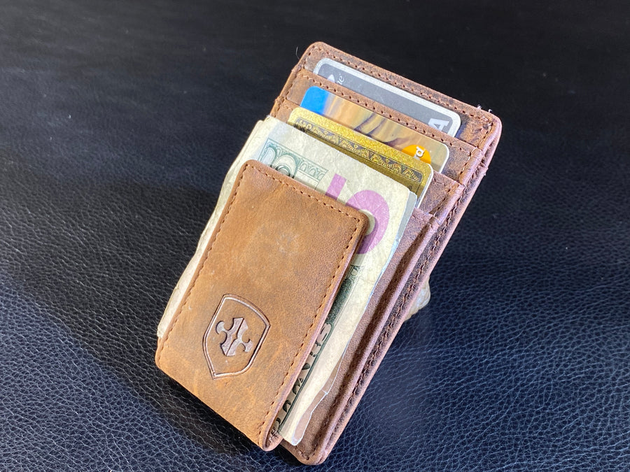 Front Pocket Leather Wallet with Money Clip Closure