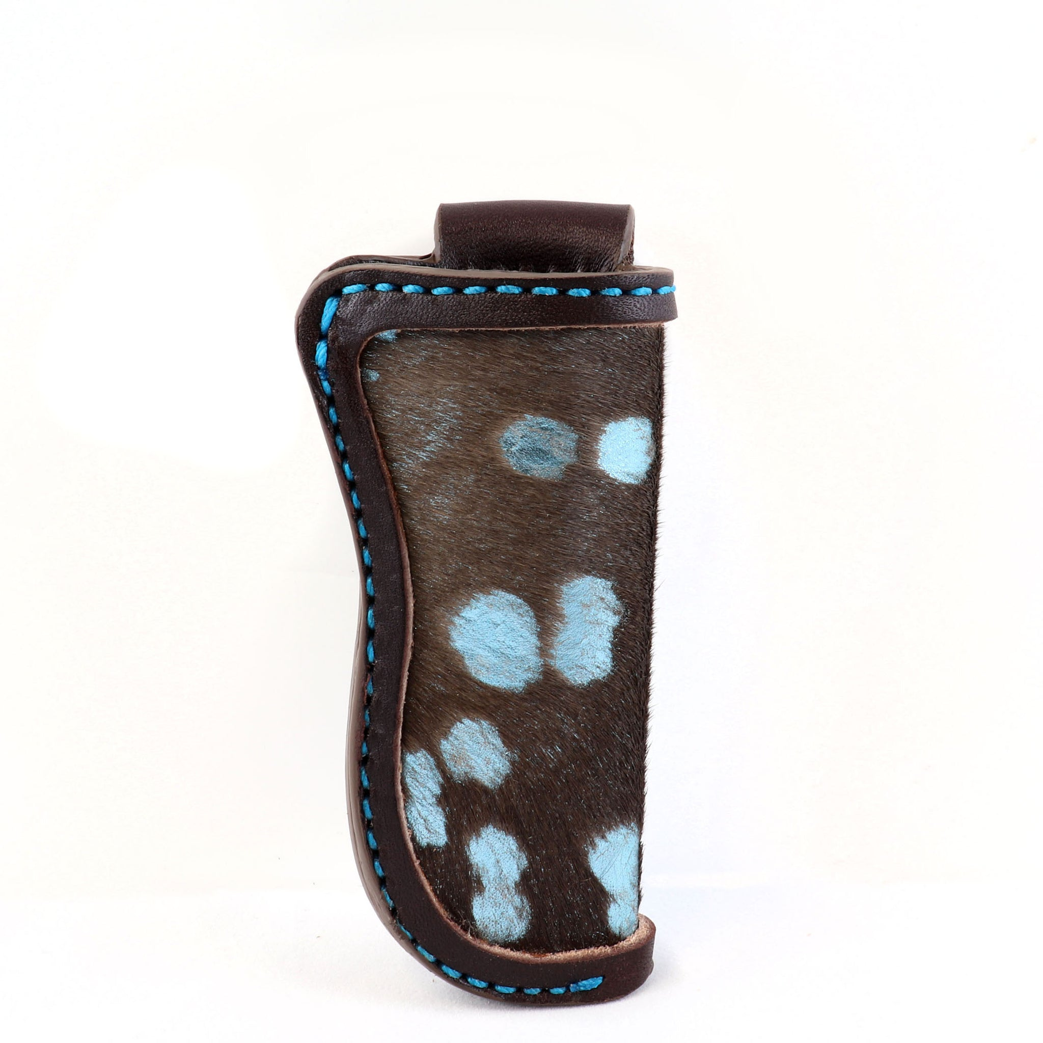 Knife Sheath with Hair-on Calfskin and Metallic Blue highlights