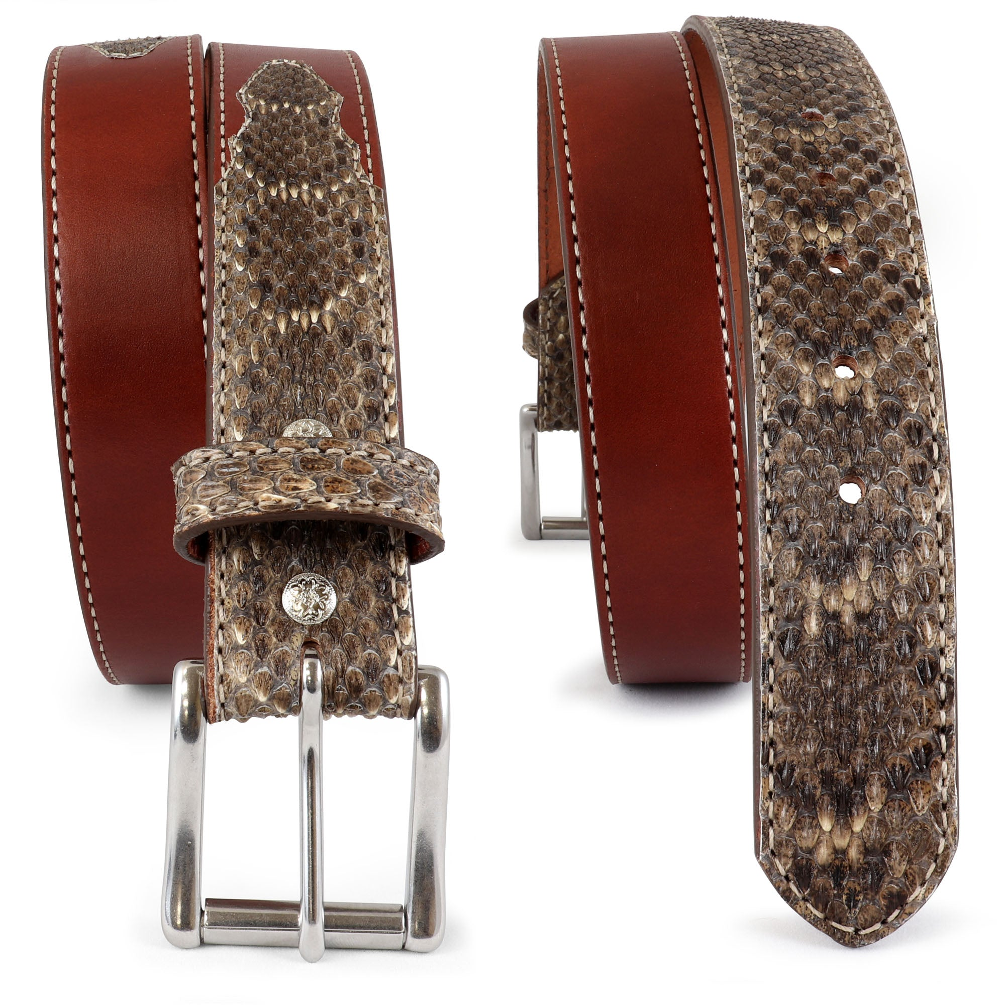Western Belt with  Genuine Diamondback Rattlesnake Leather