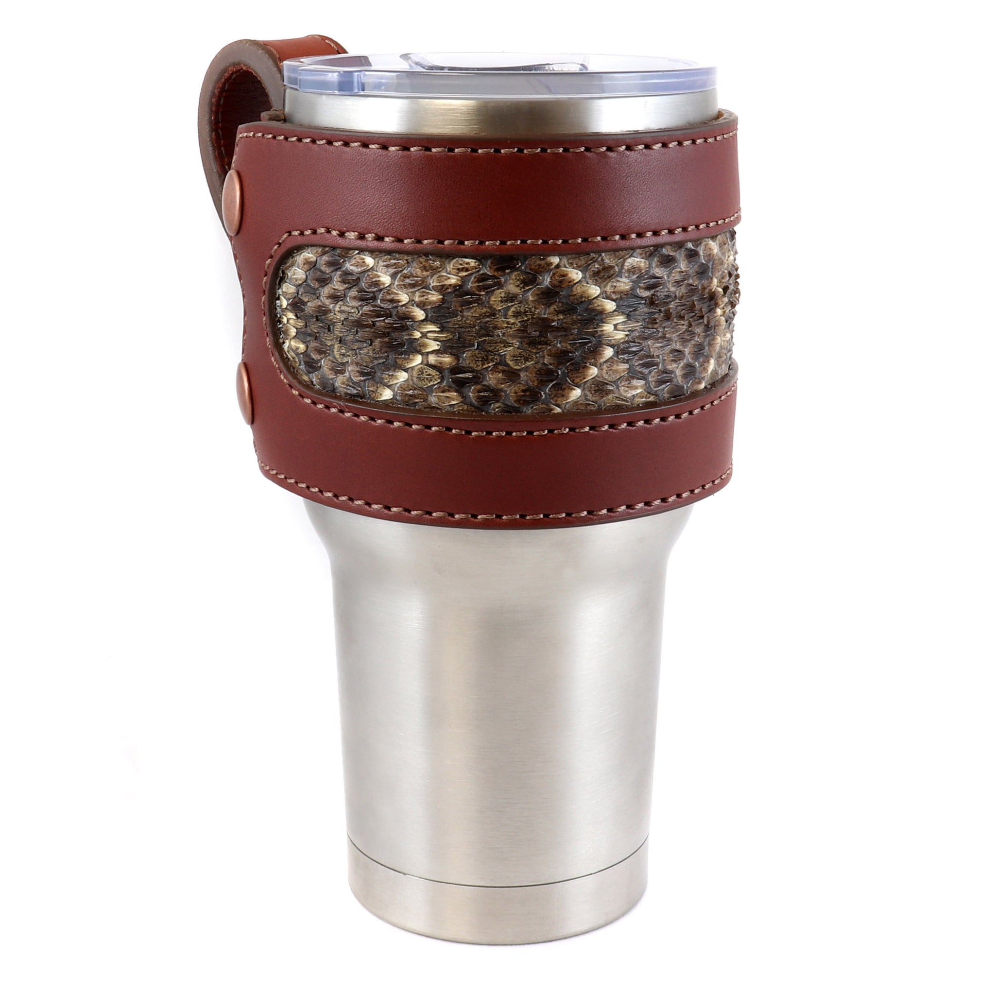 Rattlesnake Leather Yeti Cup Sleeve w/Handle