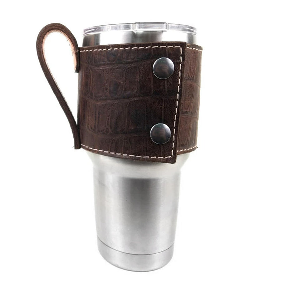 Dark Brown Croco Print Yeti Cup Sleeve w/Handle