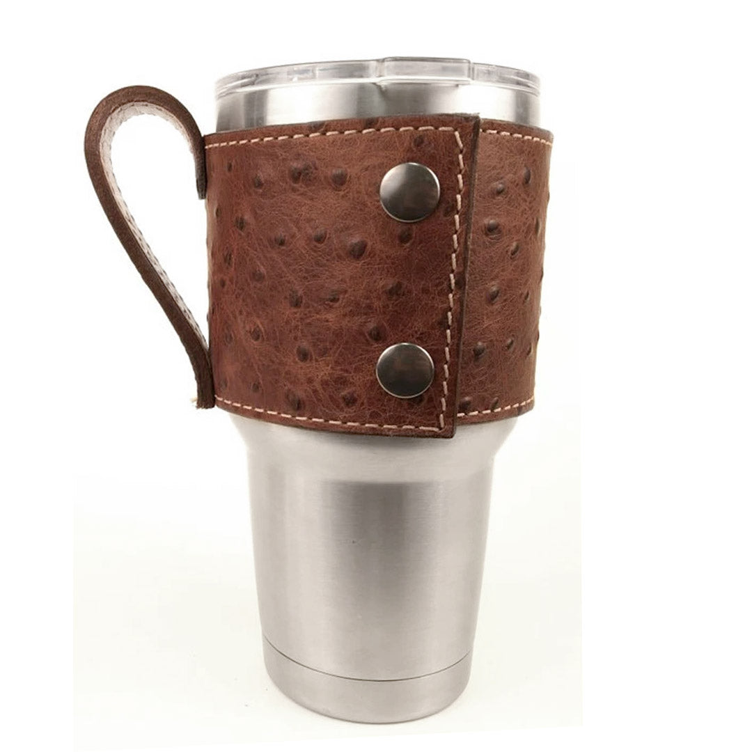 Brown Ostrich Print Leather Yeti Cup Sleeve w/Handle