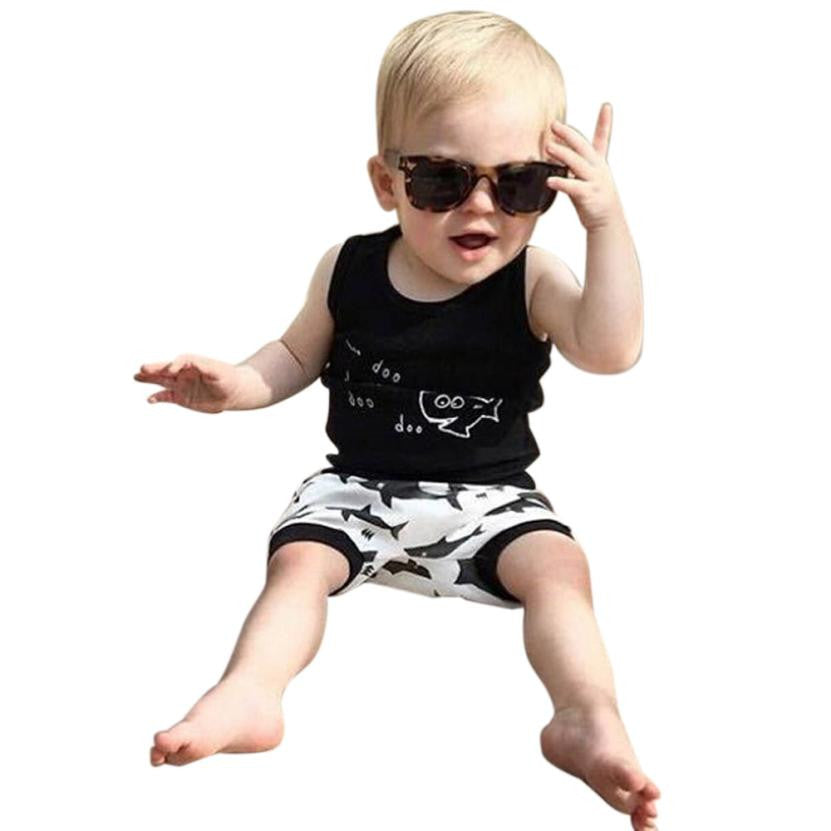 a5a62ca54 2 pieces set Newborn Infant Baby Boy Shark printed T shirt Tops + Shorts Set  6M ...