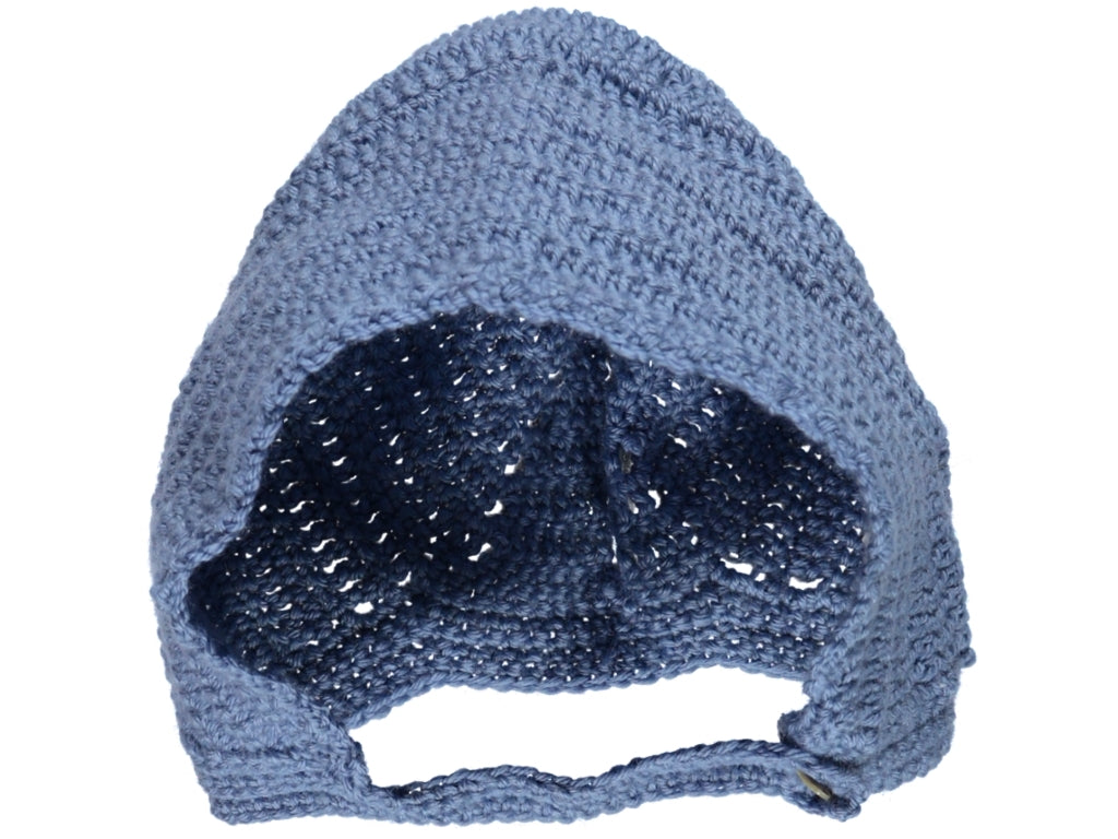 Knitted Blue Crochet Baby Bonnet.