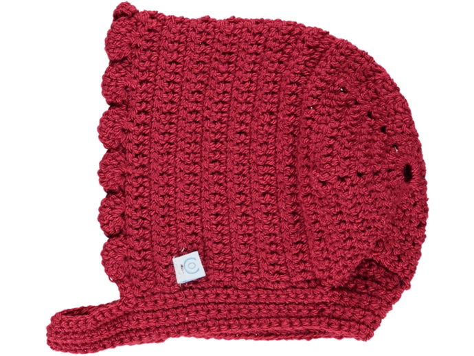 Knitted Red Crochet Baby Bonnet.