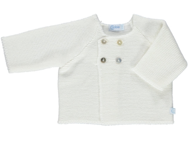Knitted White Baby Cardigan