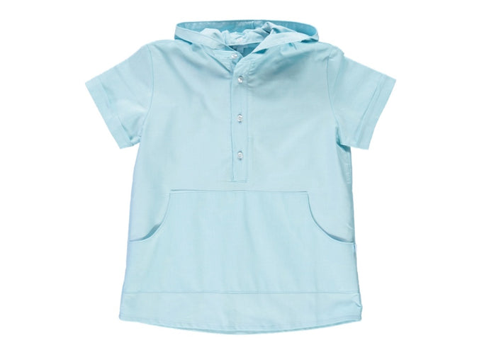 Cyan Hooded Shirt