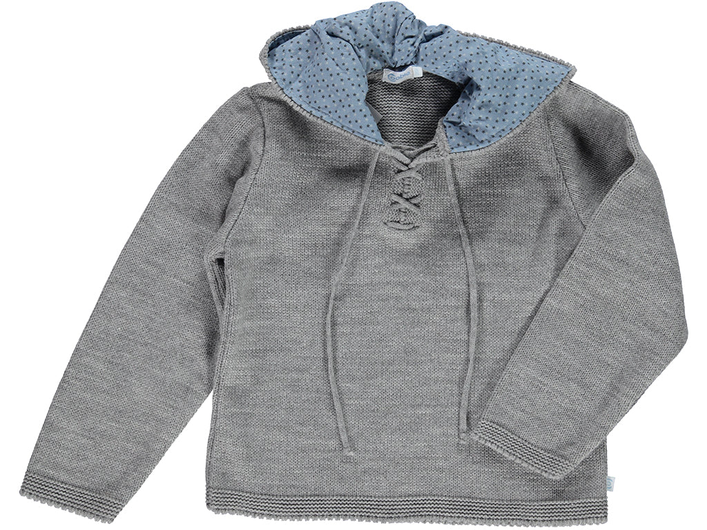knitted Hood Grey Sweater