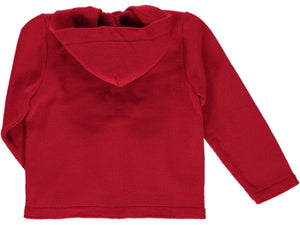 knitted Hood Red Cardigan