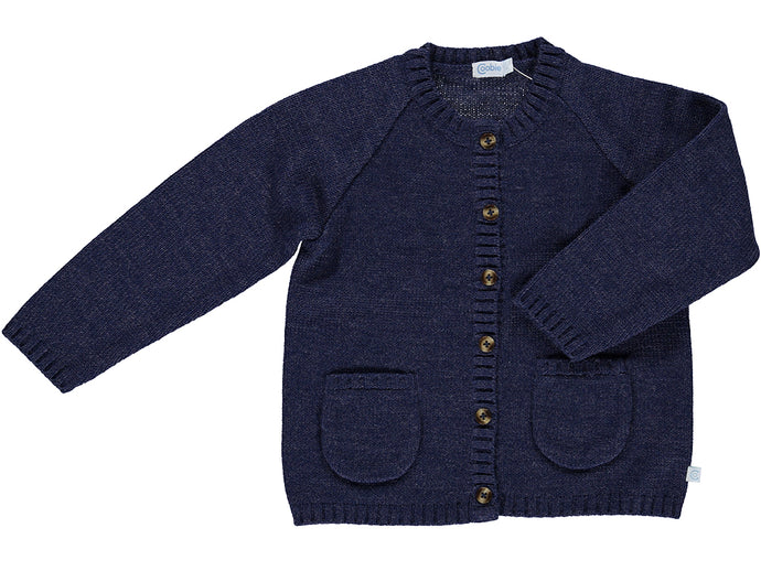 knitted Pocket Blue Cardigan