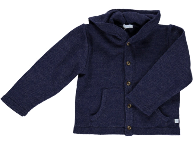 knitted Hood Blue Cardigan