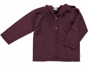 knitted Hood Bordeaux Cardigan