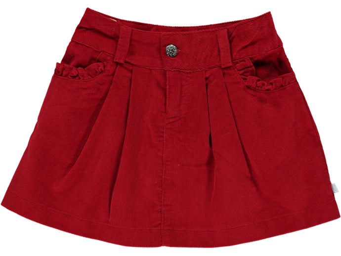 Corduroy Girl Red Skirt