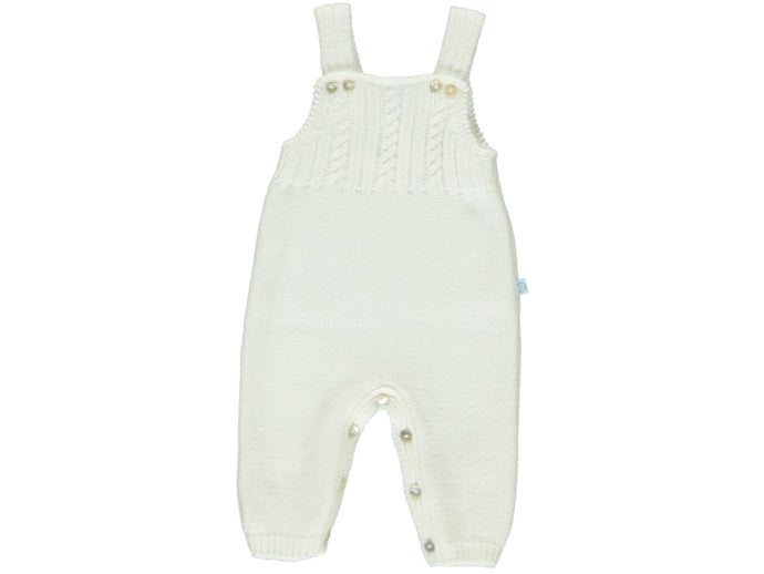 knitted Baby White Dungarees