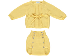 knitted Baby Yellow Outfit