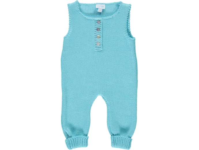 knitted Baby Cyan Dungarees