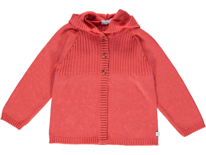 Cotton Coral Hood Cardigan
