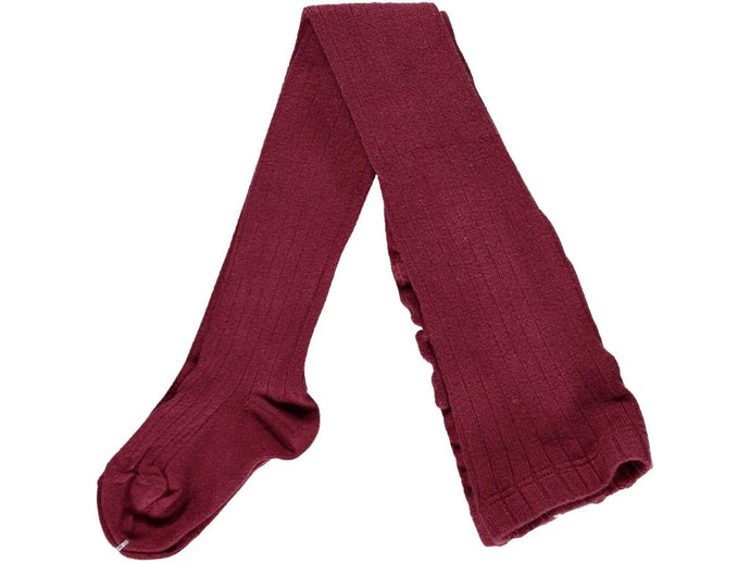 Ribbed Bordeaux Tights