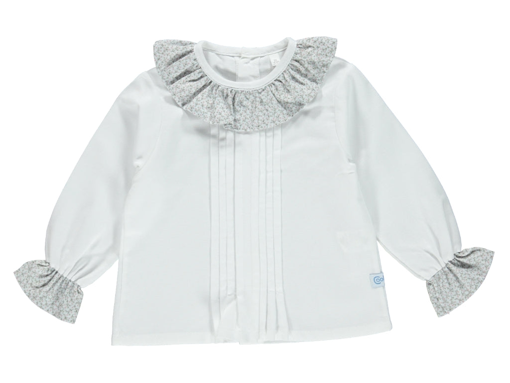 Baby Girl Flower Blue Shirt