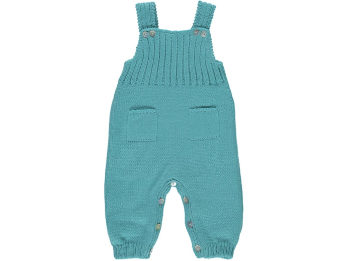 knitted Baby Green Dungarees