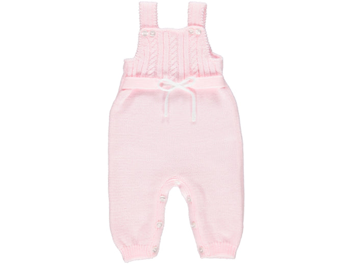 knitted Baby Pink Dungarees