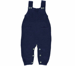 knitted Baby Navy Dungarees
