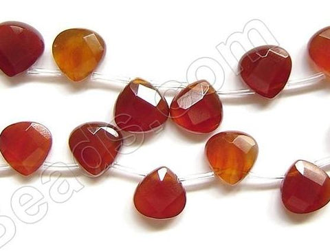 Fire Carnelian Quartz  -  13mm Faceted Flat Briolette 16""