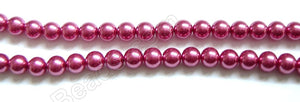 Glass Pearl   -  Dark Red  -  Smooth Round Beads  16""