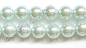 "Glass Pearl   -  Light Blue  -  Smooth Round Beads  16""  12mm"
