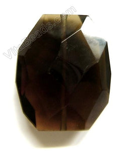 Smoky Quartz - 30x35mm Faceted Nugget Pendant