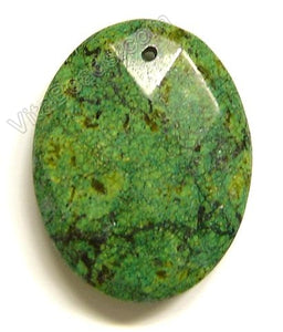 Green Turquoise - Faceted Oval Pendant