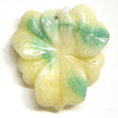 Candy Jade Pendant - Triangle Flower - Mixed Yellow Light