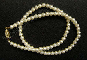 "Glass Pearl (Cream White)     18"" Necklace w/ Gold Clasp"