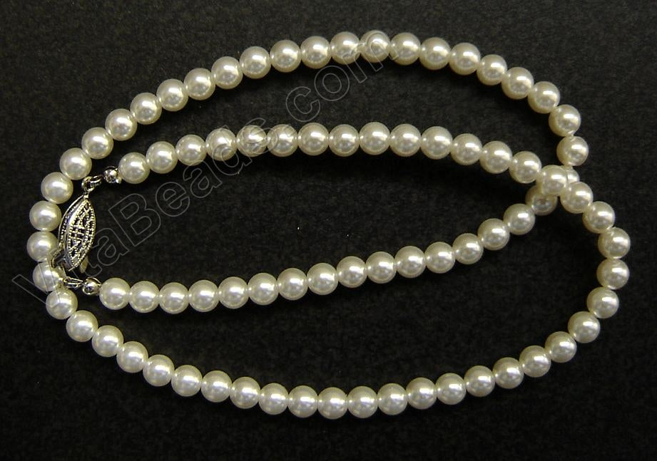 "Glass Pearl (Snow White)    18"" Necklace w/ Silver Clasp"