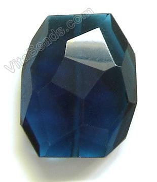 London Blue Crystal Quartz - 30x35mm Faceted Nugget Pendant