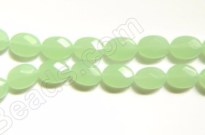 Light Olive Green Chalcedony Qtz -  016 Faceted Oval  16""