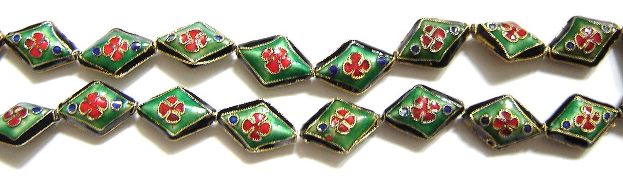 Cloisonne Beads - Black Green - 14x20mm Puff Diamond