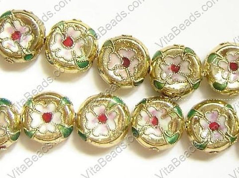 Cloisonne Beads - 16mm Coin - Gold