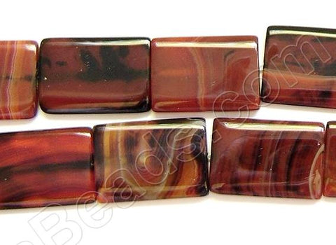 Black Red Agate, Carnelian (w/ Black)  -  Puff Rectangle  16""