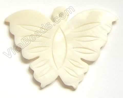 Carved Shell Pendant Butterfly - Cream White