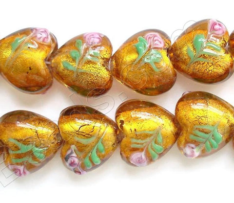 "Silver Foil Glass Beads   16""  Puff Heart - Amber with Flower"