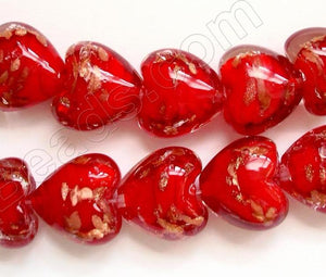 "Silver Foil Glass Beads   16""  Puff Heart - Red with Gold Sprinkles"