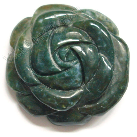 Carved Flower Pendent - Moss Agate