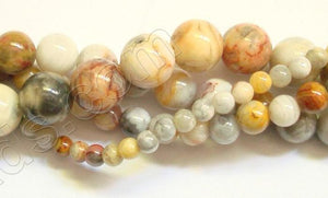 Crazy Lace Agate A  -  Smooth Round Beads 16""